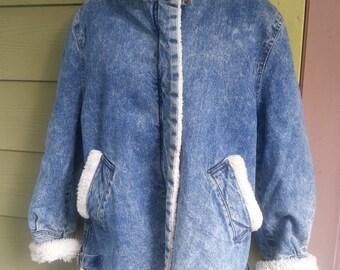 Vintage 80s Stonewashed Denim Shearling Jacket Coat Size M