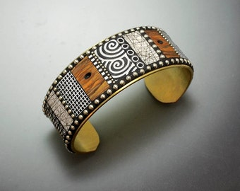 Mosaic Brass wide Cuff Bracelet with faux burl wood polymer clay inlay, Sterling Silver beads black and white patterns