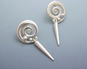 Sterling Silver dangle earrings twirls swirls  points drops with sterling posts clutch backings
