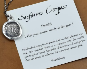 Seafarer Mariners Compass Wax Seal Necklace Antiqued - Compass Wax Seal Pendant from Antique Wax Seal - 238
