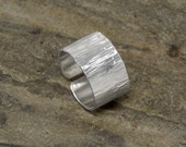 Heavy Duty Wide Band Hammered Sterling Silver Ring with Open Back