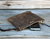 Leather Zipper Pouch  /  Zippered Purse /  Phone Case / Camera Wristlet / Leather Clutch For Fall
