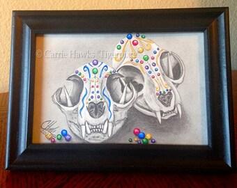 Sugar Skull Cat Skulls Original Cat Drawing Gothic Day of the Dead Art All Souls Day Mexican Sugar Skull 4x6 Cat Drawing Framed