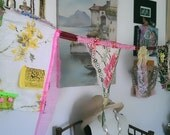 Garland, Vintage Textiles, Old Buttons, Boho, Wall Decor, Pink, Green, Bohemian,