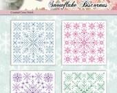 Counted Cross Stitch Pattern Snowflakes Biscornus
