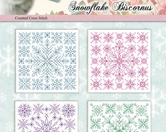 Counted Cross Stitch Pattern Snowflakes Biscornus