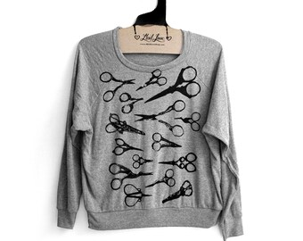 Medium- Heather Gray Tri-Blend Sweatshirt with Scissors Screen Print