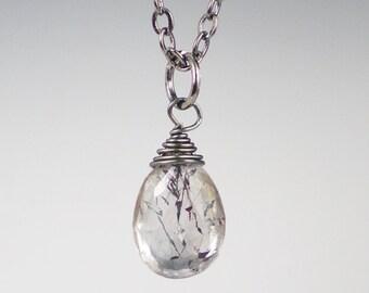 Moss Amethyst Gemstone Necklace Gunmetal Wire Wrapped Gemstone Jewerly