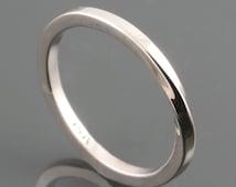 14 Karat White Gold Mobius Ring - Square Shank