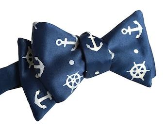 Anchor Bow Tie. Nautical Print Anchor & Ship's Wheel men's freestyle bowtie. Silkscreen print on french blue navy, cream and more!