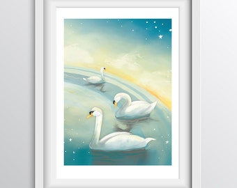 Nursery Decor - Alphabet Art Print - S - Swans Swimming under the Stars - A4 fine art print