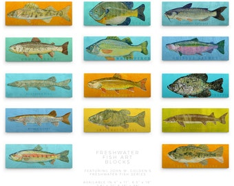 Freshwater Fish Art Series Husband Gift for Dad- Fishing Gifts- Large Art Block- Pick the Fish Print- Fish Wall Decor Fisherman Gift for Him