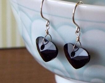Heart Earrings - Jet Swarovski Crystal And Sterling Silver Heart Earrings