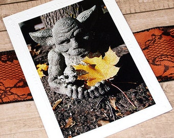 "Glitter Accent Gargoyle With Leaf Fine Art Photography Card, Halloween, Fall, Autumn, Thanksgiving, Friendship, Thinking of You - 5"" x 7"""