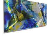 NEW! Blue, Yellow & Silver Contemporary Metal Wall Art, One of a Kind Abstract Wall Painting, Modern Metal Wall Decor - JAC 527 by Jon Allen