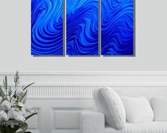 Blue Modern Metal Wall Sculpture, Decorative Metal Wall Art, Contemporary Metal Wall Decor, Set of 3 - Blue Hypnotic Sands 3p by Jon Allen