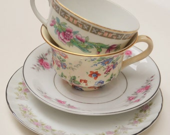 Mismatch China Tea Cup and Saucer Set Mixed Pink Red Roses Floral Wedding Shower Vintage Mad Hatter China (#PT20)