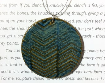 Chevron Ceramic Clay Pendant in Midnight Sea Blue with Wire Necklace Large Round