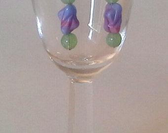 Pastels Green Lavendar Blue Earrings