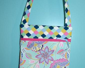 Girls Crossbody Zipper Purse - Girls Pink Blue Green Mint Purse - Girls Church Bag - Modern Girls Purse -