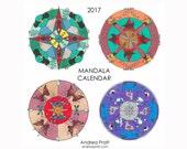 Mandala calendar - 2017 + January 2018 - artwork by Andrea Pratt