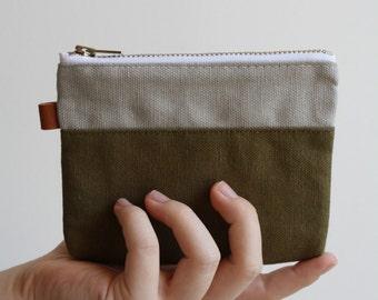 small zipper pouch - smokey + olive