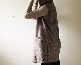 READY TO SHIP / wool vest with hoodie / brown tweed / women / long vest / made in australia / pamelatang
