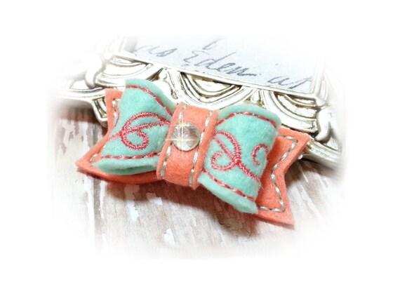Aqua Felt Dog Bows - Pet Hair Accessory, Pet Bow, Embroidery Design
