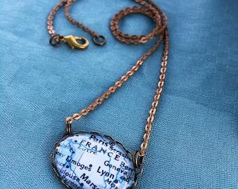 Vintage France Map Necklace - Paris Shabby - Francophone - Paris Map Necklace - Map jewelry - map necklace - Lyon Paris