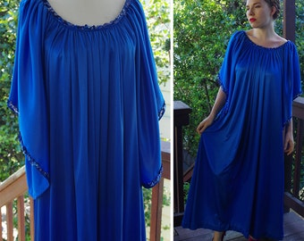 SAPPHIRE 1960's 70's Vintage Royal Blue MAXI Dress with Bell Sleeves + Sequins // size Large XL // by Miss Kim