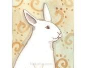 Original Watercolor Rabbit Painting - ACEO - Persimmon