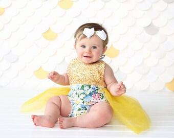 Romper - Tulle skirted, Skirted, Sequin Top Romper - Sequin Romper - Princess Romper - Birthday Romper - Photoshoot - Yellow Flower Romper