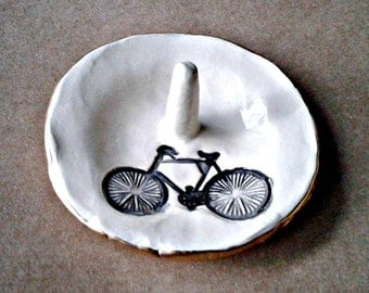 Ceramic Ring Holder Bicycle edged in gold ring holders OFF WHITE