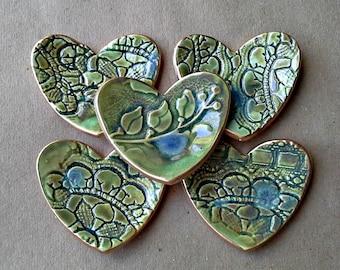 Bridal Shower favors FIVE  Moss Green Ceramic Heart ring bowls itty bittys