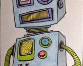 Bleep Bloop Beep Robot - Original Art, Artist Trading Card, ACEO Illustration