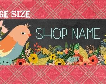 new LARGE size BirdLand floral Etsy shop Banner graphic set by Sea Dream Studio  OOAK