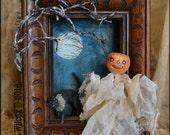 Spun Cotton Halloween Pumpkin Ghost Shadow Box with Antique Frame OOAK Folk Art