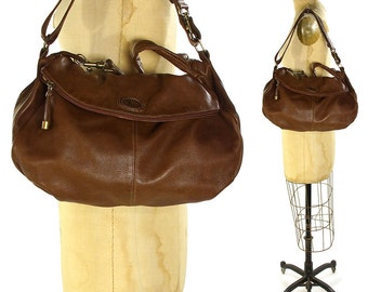 90s SOFT Leather Hobo Bag / Vintage 1990 Italian Brown Leather Purse by Rossi / Slouchy Scrunchy Casual Shoulder Bag / Messenger