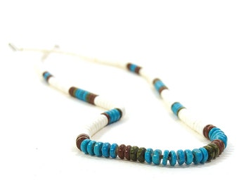 Santo Domingo Necklace / Vintage Native American Heishi, Turquoise, Shell & Jade Necklace / Vintage 1970s Tribal Jewelry