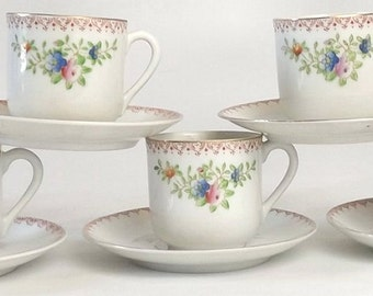Occupied Japan Demitasse Cups & Saucers, Lot of 5 Vintage 1940s Kitchen Tableware