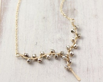 Forged Gold Vine with Silver Pyrite Necklace