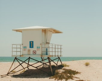 Beach Art Print, Lifeguard Stand, Summer, Coastal Art, Pacific Ocean, Blue, California Art, Vacation, San Diego, Resort Art, Coronado Beach
