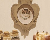 Dolls House Miniature Shabby Cat Picture in 1:12 scale