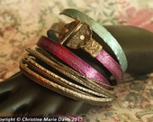 magenta and light blue boho GYPSY bangle stack .... smashed knitting needle BRACELETS and beaten bollywood bangles in Green and Copper