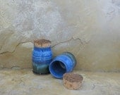 SALE - Teeny Wee Canister Set of 2- Handmade Stoneware Pottery Ceramic - Indigo Blue and Spruce Green - 6 ounces