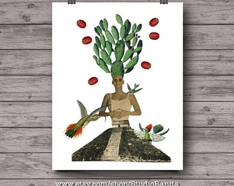 Cactus Woman, surreal whimsical printable collage, Mexican instant download wall art, yucatan pyramid, hummingbird, travel unique art print