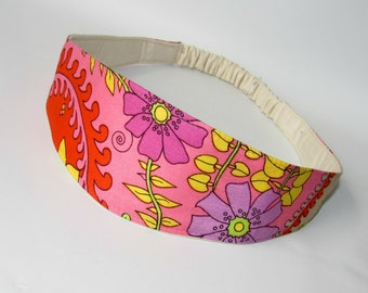 Women's Headband, Fabric Headband, Women Hairband, Hair Fashion Accessories, Reversible Teen Headband Pink Purple Flowers