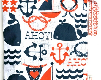 Medium 11 x 14 Wet bag /  Swim / Diapers / Gym /  Ahoy Matey Fabric  / SEALED SEAMS and Snap Strap