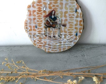 Rain song, gifts for her, Boho, guitar player, woman singing, raindrops, hippie girl, one of a kind Mounted Print on round wood slice