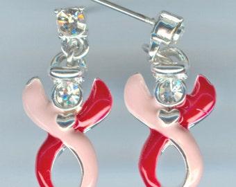 Fibromyalgia Awareness - Pink/Red, Swarovski, Guardian Angel Ribbon Earrings ~ Raising Money to Find a Cure!!